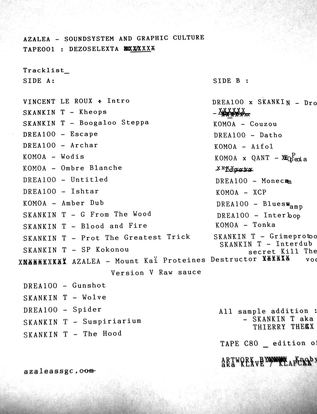 Azalea ssgc Dezoselexta Tracklist K7 001 80 minutes